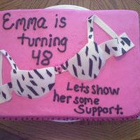 Emma's Bra Cake sheet cake w/ fondant bra and accents