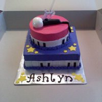 Hannah Montana Cake W/ Piano cake with fondant piano at bottom w/ fondant accents
