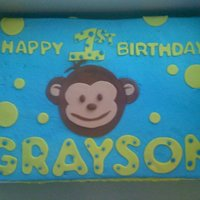 Grayson's 1St Birthday sheet cake w/ fondant accents