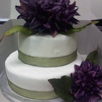 Small Wedding Cake With Big Flowers Small wedding cake covered in fondant with fake BIG flowers