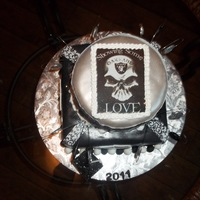Raiders Graduation Cake.... Raiders, black, white, silver, edible image, rice paper