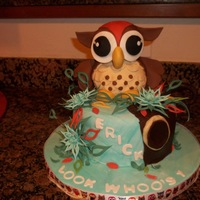 Owl Cake Owl, rice crispky treats-owl was made of with coating of molding Pat Ashbry flower cutter to make the flower