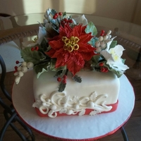 Christmas Cake Poinsettia holiday cake