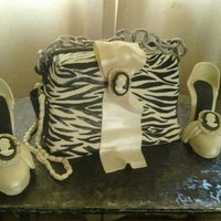 Purse And Shoes Purse cake, hand painted, gumpaste shoes, cameo, black and white,