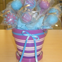 Pops In A Pot Purple and Tiffany blue cake pops.