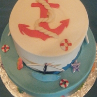Ahoy, It's A Boy ! 6, 10. French vanilla and butter cake w buttercream icing. Gumpaste/fondant sailboats and anchor. sugar sea creatures