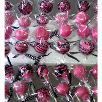 Victoria's Secret Pop hot pink and black cake pops. Victoria's Secret theme