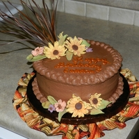 Candra's 19Th Bday Fudge Marble w/chocolate icing with gumpaste flowers