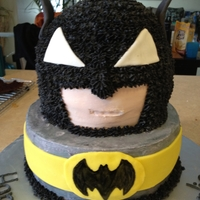 Batman Chocolate cake with buttercream icing and fondant accents. Thank you for the inspiration cake central artists. This was a last minute...