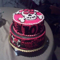 Girly Skull for my best friends daughter, white and chocolate cake with buttercream icing
