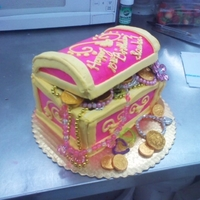 Treasure Chest for my fiance's little girl. marble cake with elite (whipped) icing