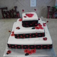 Ladybug Themed Birthday Cake Square ladybug cake with 3 tiers. covered in fondant and decorated with modeling chocolate flowers and ladybugs. Ribbon around layers with...