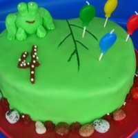 Frog Cake Made for my son's frog themed birthday party :) Lilypad is carved from heart shaped pan and frog is my very first attempt at sculpting...