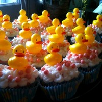 Ducky Cupcakes Vanilla buttercream and candy balls for bubbles :) Plastic duck pics...