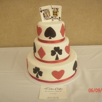 Poker Wedding Cake WASC/Decadent Chocolate Cake with BC and White Chocolate Fondant. Handpainted King and Queen cards.