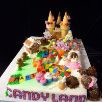 2011 Candy Land Themed Cake   Everything on this cake is edible! Candy, cookies, chocolate, cake, icecream cones and fondant!!!