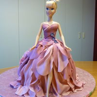 Barbie Doll Birthday Cake Chocolate cake covered with buttercream and MMF dress