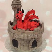 Dragon And Castle Cake The Dragon Was Molded From Modeling Chocolate Dragon and castle cake, the dragon was molded from modeling chocolate