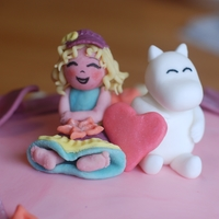 Moomin niece's 3rd b-day. she asked me for the moomin, i made her next to it.=) marzipan, sugarpaste