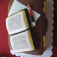 Bible And Briefcase This cake was for a brother going off to MTS. I used chocolate fondant on the briefcase. The Bible is made of RKT and covered in fondant....