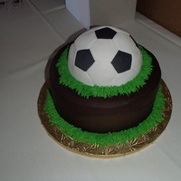 Soccer Ball Groom's Cake  Soccer ball groom's cake. Cake is covered in chocolate fondant. Soccer ball is also covered in fondant. Green buttercream grass...
