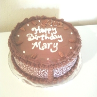 Mary's German Chocolate Scroll Design Birthday Cake