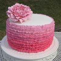 Ruffled Ombre Cake With A Peony Here is a ruffled ombre cake I made for my birthday. I love Peonies so I had to make one for the top. I used Magic chocolate to make the...