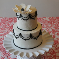 Black On White Piped Cake
