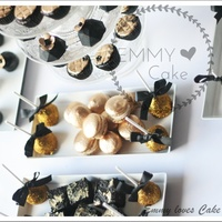 Gold And Black Sweet Table Cupcakes, chocolate, macarons, cakepops and marshmellows