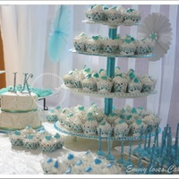 Lace With Teal And Turqouise Details Sweet Table Sweet table with cakepops, cupcakes, meringues,macaroons and cookies
