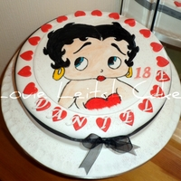 Betty Boop   Hand Painted betty boop vanilla sponge cake with jam and buttercream filling