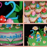 Smurfette Cake And Cupcakes All The Details Made With Fondant And Gumpaste Confetti Cake With Raspberry And Strawberry Filling   Smurfette cake and cupcakes. All the details made with fondant and gumpaste :)Confetti cake with raspberry and strawberry filling :)