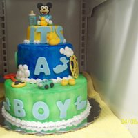 Mickey Mouse Baby Shower Cake I made this cake for my nieces baby shower. It is cake with butter cream frosting covered in fondant and hand painted to make it more child...