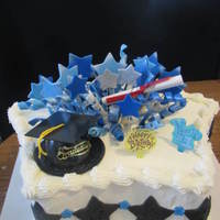Star Grad Cake This was the theme for the grad, all stars blue,and black...TFL =}