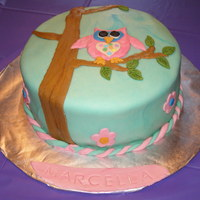 Owl Cake For My 8Yr Daughter To Match Up Her Pty Invitation Owl cake for my 8yr daughter to match up her pty invitation.