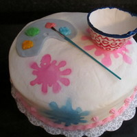 Pottery Painting Party Cake I made this cake for my daughter BD, we had a pottery painting in our house (so much fun). rainbow WASC with cream cheese icing, and a...