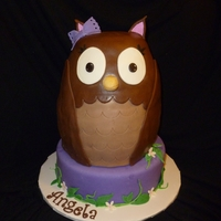 An Owl For Angie If only the picture had done this cake justice...vanilla cake with chocolate buttercream under fondant decor.