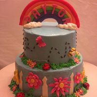 "Spring Themed Birthday Cake!   I loved doing this one. I was given the theme of ""spring"" and told to work my magic :)"