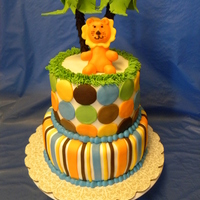 King Of The Jungle Baby Shower Cake   Loved this theme and the colors, super cute :)