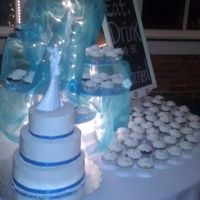 Co Workers Wedding Three teir, frosted with buttercream sprinkled with white sugar crystals.