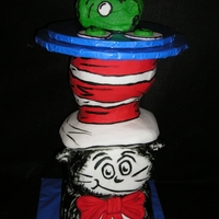 "The Cat In The Hat Wears Green Eggs And Ham Carved Stryo cat, covered in fondant and hand painted. Carved ""ham"" yellow cake with butter cream icing and fondant ""eggs&..."