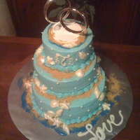 Beach Themed Wedding Cake This was a simple beach themed wedding cake for my boyfriend's daughter who met her husband in Florida. Strawberry cake with cream...