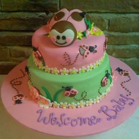 Pink Ladybug Baby Shower This cake was done for a baby shower with a pink and brown ladybug theme. Chocolate cake with chocolate fudge filling and rice crispie...