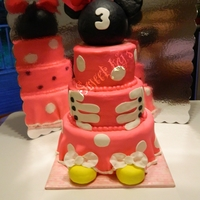 Minnie Mouse Cake I made this back in February for a friend. She find a picture online and wanted this for daughter. We made some change to make it different...