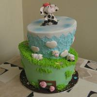 Topsy Turvy   Fondant animals and decorations. Cake covered with fondant and buttercream.