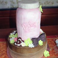 Mason Jar Baby Shower Cake All buttercream with fondant accents