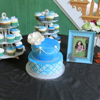Vintage Themed Graduation Party Vintage inspired cake/cupcakes-Chocolate/Orange top layer, Vanilla bean bottom. Cupcakes are Lemon Blossoms, Key Lime and Choco/Orange