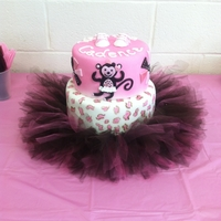 Tutu Monkey Baby Shower All fondant with airbrushed cheetah print
