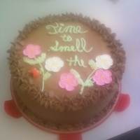 Take Time To Smell The Flowers... Cake done for a retirement. WASC cake, strawberry filling, dark chocolate buttercream