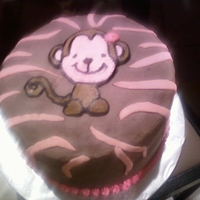 Baby Shower Monkey Made to match the invitations for my daughter's baby shower. Buttercream frozen transfer with fondant stripes. All chocolate cake and...